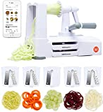 Mealthy 5-Blade Spiralizer | Vegetable Slicer with Durable Stainless Steel Blades | Kitchen Cooking Tool | Spiral Zoodle Maker with Catch & Store Container | Includes iOS & Android Recipe & Video App