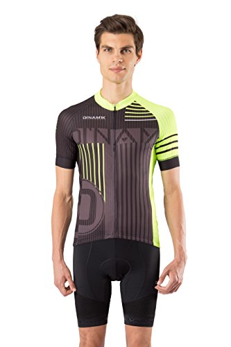 (Dinamik Evo Pro Signature Mens Short Sleeve Cycling Jersey Breathable Quick Dry Black Neon Green with 3 Pockets (X-Large),X-Large,Black, Green, Grey)