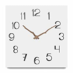 FlorLife Nordic Style Wall Clock, 12 MDF Wooden Wall Clock Vintage Rustic Square White Quartz Wall Decorative Clock, Silent & Non-Ticking Indoor Clocks