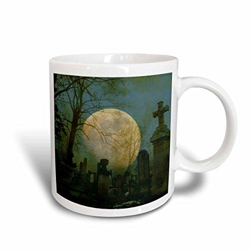 3dRose Full Moon in a Cemetery Spooky Art Halloween Ceramic Mug, 11-Ounce -