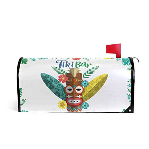 Ethnic Tiki Mask with Plants and Surf Boards Print Mailbox Covers Magnetic Standard Size Mail Boxes Makeover Mail Wraps Cover Letter Post Box
