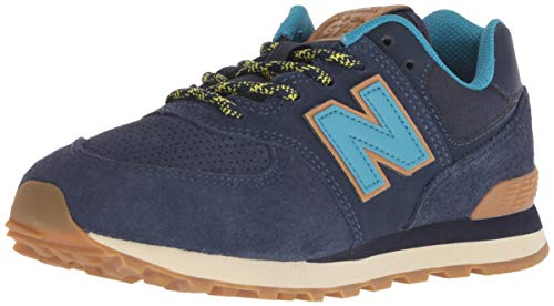 New Balance Boys' Iconic 574 Sneaker, Pigment/Cadet, 8 M US Toddler