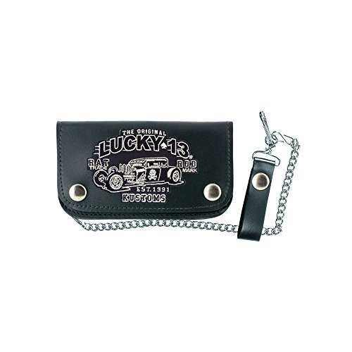 Lucky 13 Black Rat Rod Patch Wallet with Chain Made in (Rat Wallet)