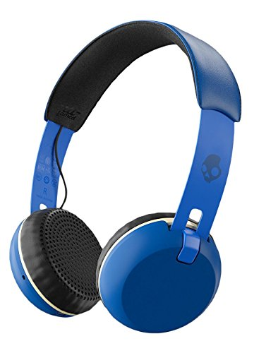 Skullcandy Grind Bluetooth Wireless On-Ear Headphones with Built-In Mic and Remote, 12-Hour Rechargeable Battery, Supreme Sound Audio, Plush Ear Pillows for Comfort, Royal Blue by Skullcandy