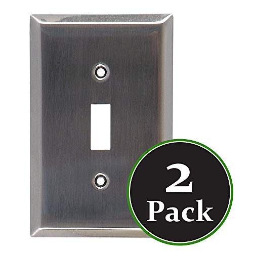 (2 Pack Traditional Single Switch Brushed Nickle Finish Wallplate,Standard Size,Mount,Wall Plates Kit, Home Electrical Toggle Light Switch Cover, Material, Replacement Faceplates Wall Plate Covers)