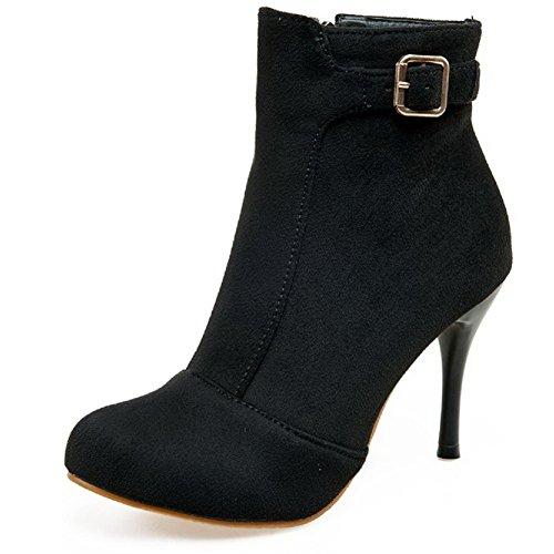 AllhqFashion Womens Zipper Round Closed Toe High-Heels Imitated Suede Low-top Boots Black fkZxd0Tv93