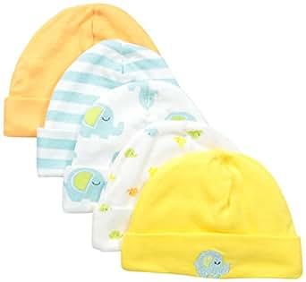 Gerber Baby 5 Pack Cap, Elephant, 0-6 Months