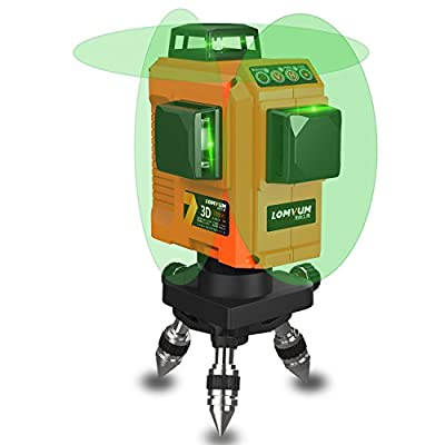 Self-Leveling Green Rotary Laser with Layout Beam 12 Laser Lines 98 Ft Indoor & Outdoor, Magnetic Mount Base, Battery Included