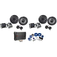 2) Pairs Rockville RV65.2C 6.5 Component Car Speakers+4-Channel Amplifier+Wires