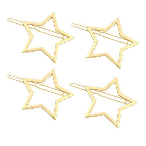 (Olpchee 4 Pcs Fashion Gold Hair Clips for Girls Women Headwear Simple Hollow Star Ponytail Hairpins Wedding Bridesmaids Bridal Ornament)