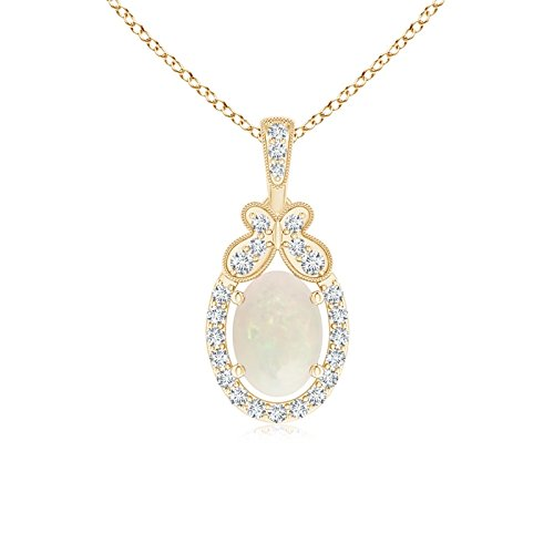 October Birthstone - Oval Shaped Opal and Diamond Halo Pendant Necklace for Women in 14K Yellow Gold (7x5mm Opal) (Shaped Opal Oval Pendant)