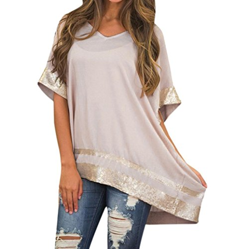 iTLOTL Women Plus Size Sequined Decorated V-Neck Half Sleeve Sparkly Capelet Blouse(US:22/CN:M, -