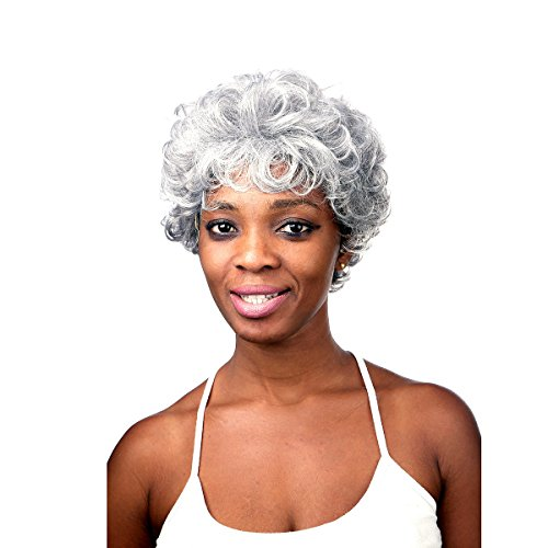 Wigs For Older Women (Silver Grey Short Curly Wigs For Older Women Heat Resistant Synthetic African American Wig)