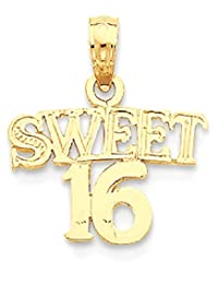 ICE CARATS 14k Yellow Gold Sweet Sixteen Girl 16 Birthday Pendant Charm Necklace Special Day Fine Jewelry Gift Set For Women Heart