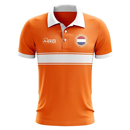 Airo Sportswear Holland Concept Stripe Polo Football Soccer T-Shirt Jersey (Orange)