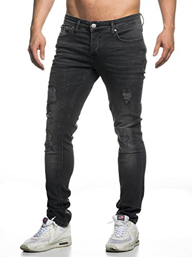 TAZZIO Slim Fit Herren Destroyed Look Stretch Jeans Hose Denim 16525 30/32