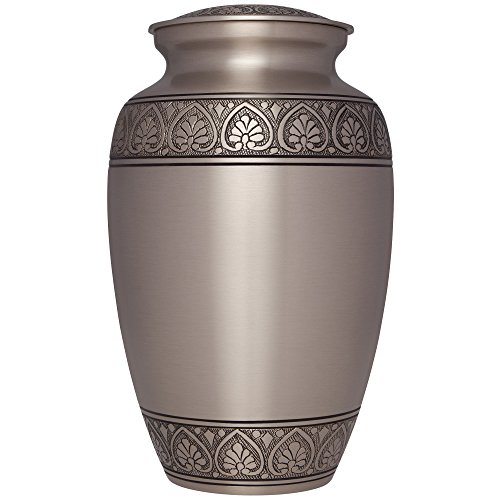 Silver Funeral Urn by Liliane Memorials – Cremation Urn for Human Ashes – Hand Made in Brass -Suitable for Cemetery Burial or Niche – Large Size fits remains of Adults up to 200 lbs- Silver Corinthian