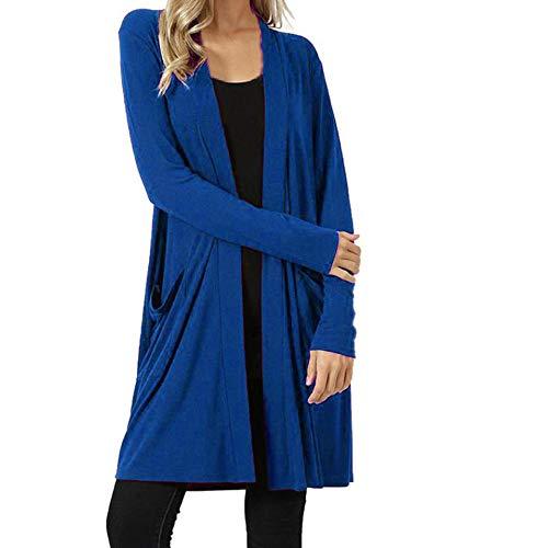 OSTELY Women's Cardigan, Plus Pocket Outwear Autumn Winter Open Front Fly Away Loose Drape Warm Coat Tops(Blue,Large) ()