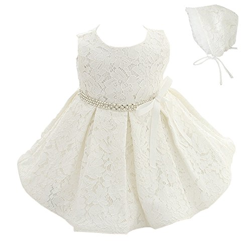 Meiqiduo Baby Girls 3Pcs Set Christening Baptism Wedding Formal Dress (3M/0-6months, Ivory White)