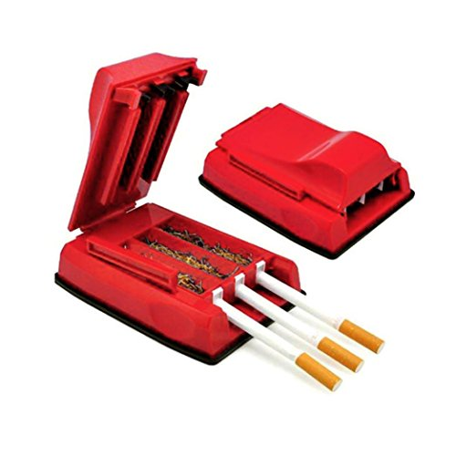 Manual Tobacco Maker Triple Cigarette Rolling Machine Tube Roller KingWo (Red) (Best Roll Your Own Tobacco)