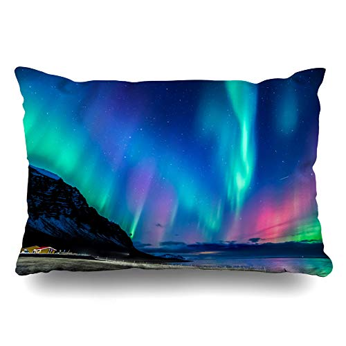 Ahawoso Throw Pillow Cover Blue Colors Northern Light Iceland Parks Nature Green Sea North Stars Winter Pillowcase Queen 20