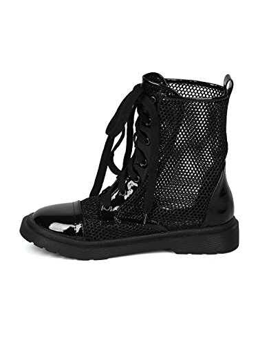 Boot Alrisco Lace HH99 Combat Black Mix Media Toe Women Up Mesh Glitter Capped 8X8Zrgq