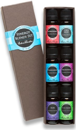 6 Synergy Sampler Pack Pure Therapeutic Grade Essential Oil Gift Set by Edens Garden- 6/10 ml...