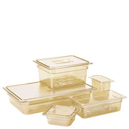Carlisle 10420B13 StorPlus Gastronorm High-Heat Half-Size Food Pan, 2.5 qt. Capacity, 12-3/4 x 10-3/8 x 2-1/2'', Amber (Case of 6) by Carlisle