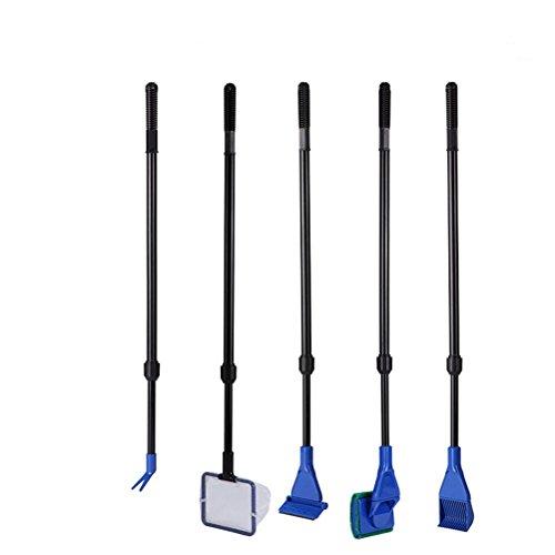 Tinksky 5 in 1 Healthy Clubs Aquarium Fish Glass Tank Cleaning kit Gravel Rake Algae Scraper Flant Fork Sponge (Blue+Black)