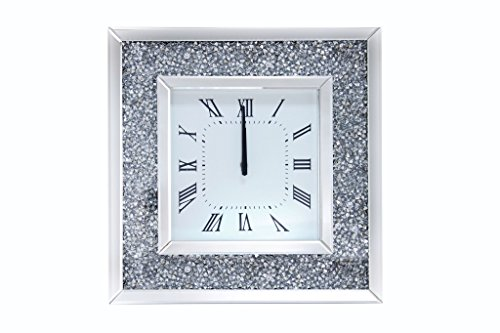 "Major-Q 20"" Modern Style Beveled Mirror Frame Square Faux Diamond Wall Clock, 9097395"