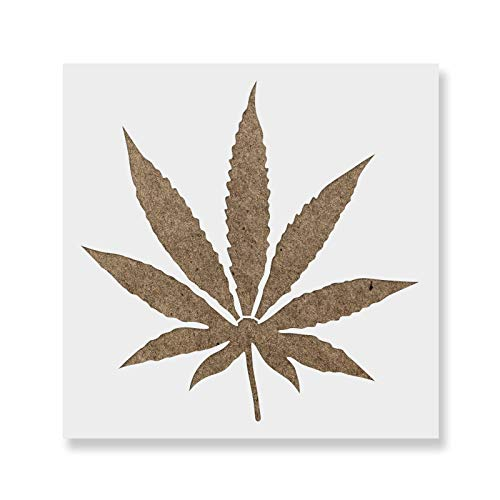 (Weed Leaf Stencil Template - Reusable Stencil with Multiple Sizes Available)