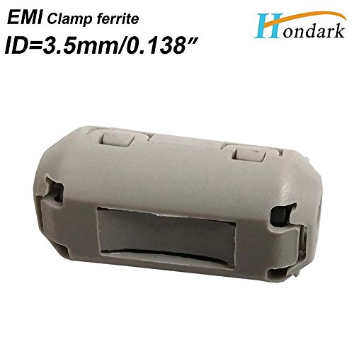 20ea inner3.5mm 0.14Clip EMI Filter ferrite core Cable Wires Noise Cancel ferrite Ring clamp RF Choke ferrite Bead 1325-0530 Grey