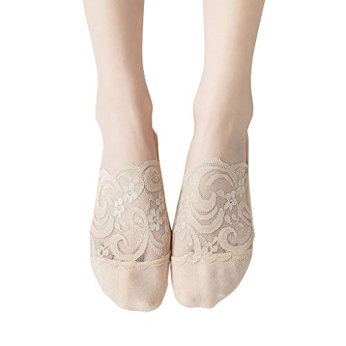 Toe Ankle Sock For Women Cotton Blend Lace Antiskid Invisible Low Cut Socks