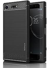 TECHGEAR Xperia XZ1 Compact hoesje - [Stealth Case] Flexibele, schokbestendig, slim fit, zachte TPU-beschermhoes met koolstofvezelontwerp compatibel met Sony Xperia XZ1 Compact