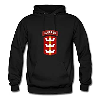 For Women Cotton Black Customizable Long-sleeve Lightweight 130th Engineer Sapper Sweatshirts X-large