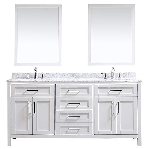 Ove Decors Maya 72 in. White Double Vanity Sink with Marble Top -