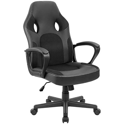 Furmax Office Chair Desk Leather Gaming Chair, High Back Ergonomic Adjustable Racing Chair,Task Swivel Executive Computer Chair Headrest and Lumbar Support (Black) (Design Pu Leather Slim)