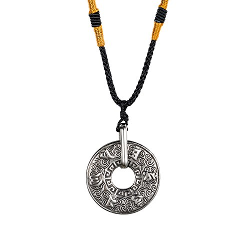 (INRENG Men's Stainless Steel Tibetan Buddhist Om Mani Padme Hum Mantra Pendant Necklace Yoga Religious Jewelry Silver)