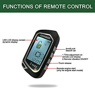 2 Way LCD Car Alarm Security System with Remote Start System Mobile Phone and Remote Key Control 1600 feet Range for Car: Car Electronics