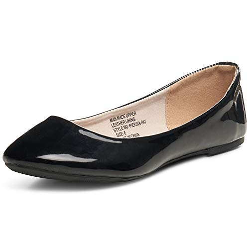 alpine swiss Womens Black Faux Patent Leather Pierina Ballet Flats 7 M US
