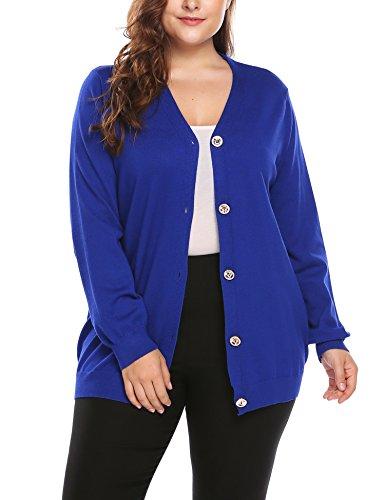 - Plus Size Women's Button Down Knit Cardigan Long Sleeve Casual Knitwears Sweater
