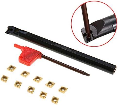 NO LOGO ZDX-CHEXIAODJ, 10 stücke CCMT060204-HM Wendeplatten + S10K-SCLCR06 Drehstange Drehwerkzeughalter mit Schraubenschlüssel