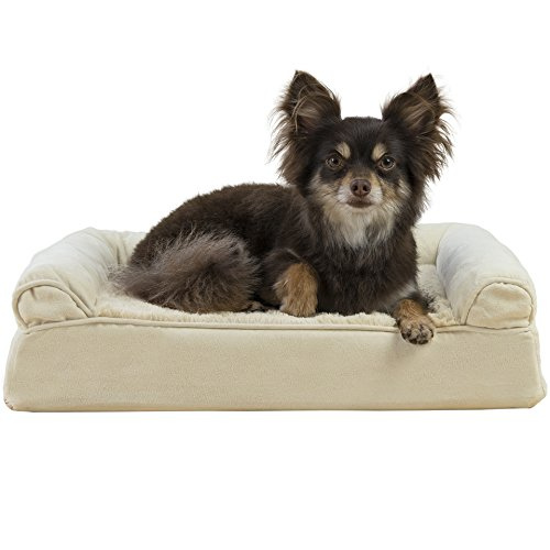 FurHaven Pet Dog Bed | Orthopedic Ultra Plush Sofa-Style Couch Pet Bed for Dogs & Cats, Clay, Small