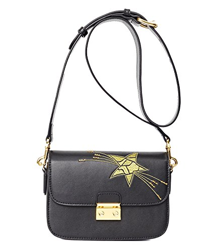 EMINI HOUSE Vintage Sling Bag with Chic Wide Strap Women Padlock Bag-Star (Nappa Leather Flap Handbag)
