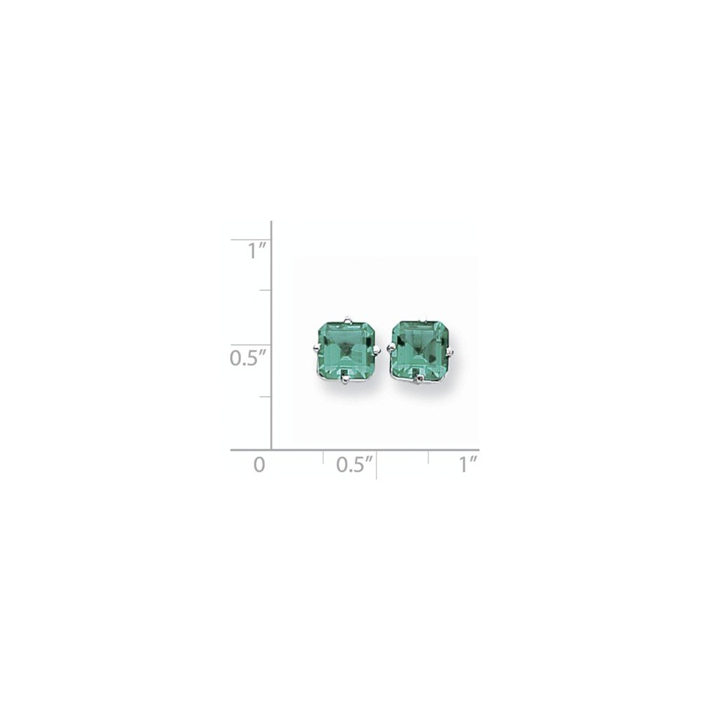 Real 14kt White Gold 7mm Princess Cut Mount St Helens Earrings