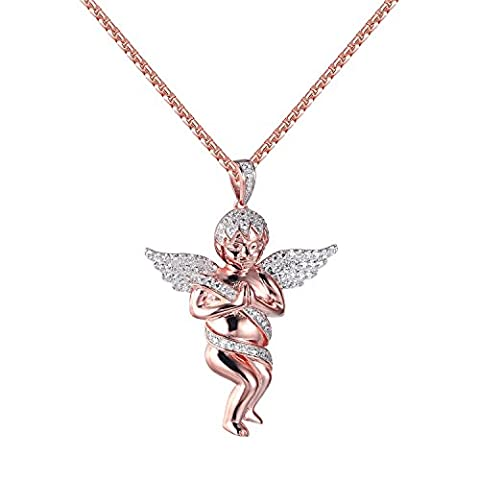 Praying Guardian Angel Pendant Cherub Lab Diamonds Rose Gold Over 925 Silver Chain (Men Gold Over Silver Chain)