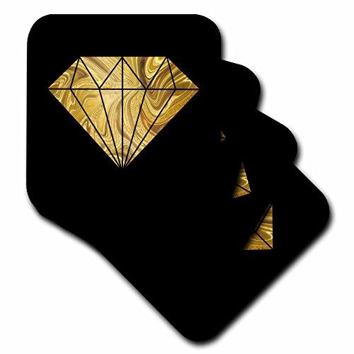 3dRose Andrea Haase Illustration - Image of Glamorous Golden Marble Diamond On Black - set of 8 Coasters - Soft ()