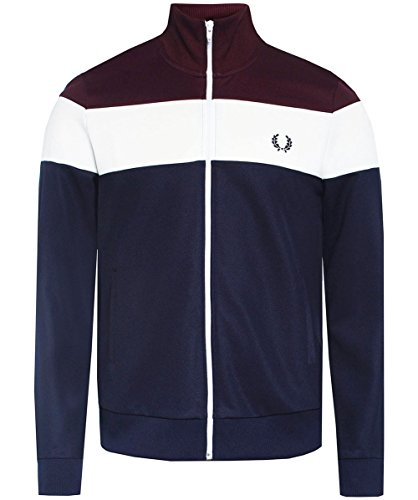 Fred Perry Men's Colour Block Track Jacket Carbon Blue Small by Fred Perry