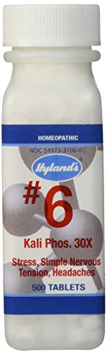 Headache Relief, Hyland's Cell Salts #6 Kali Phosphoricum 30X Tablets, Natural Relief of Stress, Simple Nervous Tension, Headaches, 500 Count