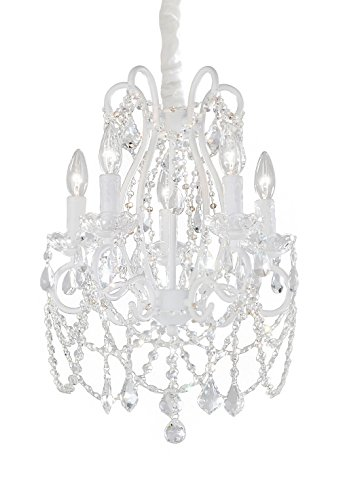 Fluorescent Chain Hung Lamp - Juliette 5 Arm Crystal Chandelier, 5-Light, Firefly Kids Lighting